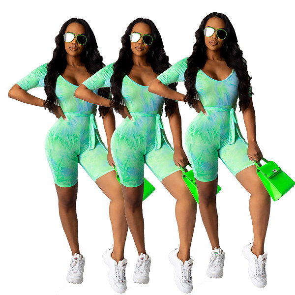 Women Tie-dyed Printed Half-sleeve Bodycon Fitness Romper MF-0007