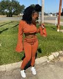 Hooded Flared Sleeve Crop Top Leggings Sport 2 Piece Pants Set WM-935