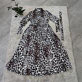 Plus Size Women's Leopard-print Long Sleeve Loose Dress CY-1015
