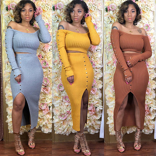 Elegant Crop Top Long Skirt Women Two Piece Matching Sets BER-8024