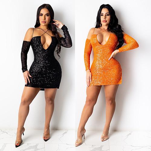Sexy Deep V Long Sleeve Sequin Bodycon Mini Party Dresses NY-7165