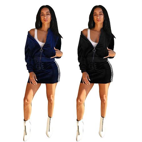 Velvet Long Sleeve Zipper Top Mini Skirt Two Piece Outfits LSL-6022