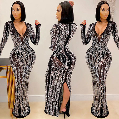 Long Sleeve Hot Drilling See Though Women Evening Dresses BY-5002