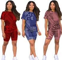 Cashew Flower Loose Short Sleeve T-shirt Shorts Two Piece Set CYAO-8070