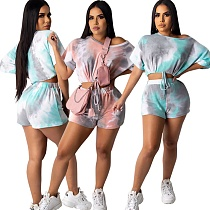 Tie-dye Printed Short Sleeves Stretch Crop Top Shorts 2 Pieces MF-237