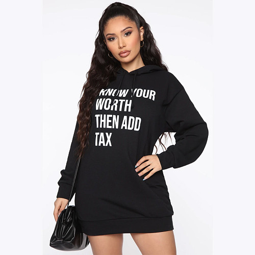 Women Letter Print Hooded Long Sleeve Loose Sweatshirt JLY-19157