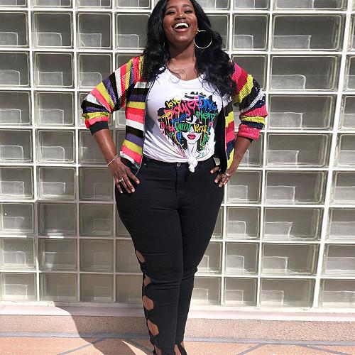 Plus Size Women Jackets Sequins Long Sleeve Stripe Coats OSS-21020