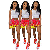 Women's Sleeveless Cropped Vest Print Shorts 2 Piece Set SMY-8073