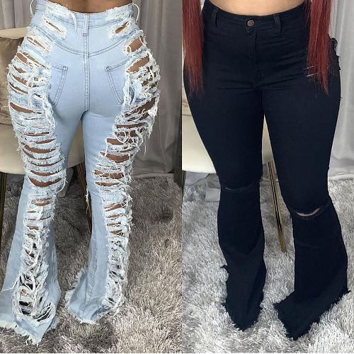 Women Classic High Waist Ripped Skinny Bell Bottom Jeans HSF-2397