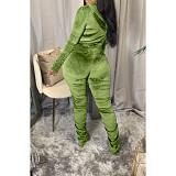 Velvet Pleated Zipper Hooded Jacket Skinny Pants Suit HGL-1539