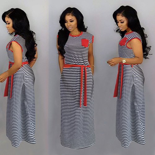 Women Summer Sleeveless Ankle-length Loose Striped Dress HMS-5322