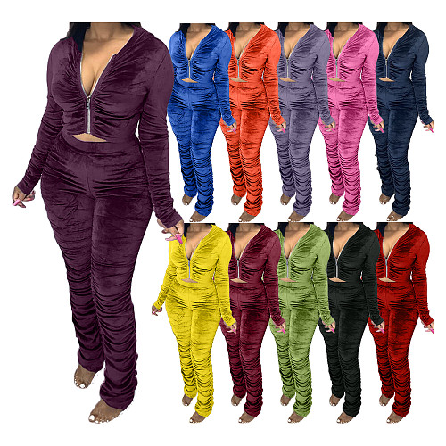 Velvet Pleated Zipper Hooded Jacket Skinny Pants Suit HGL-1539