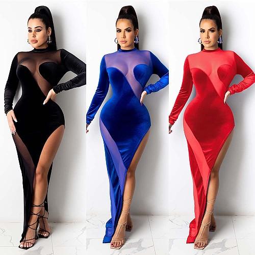 Velvet Splicing Perspective Long Sleeve Irregular Split Club Dress NY-7169