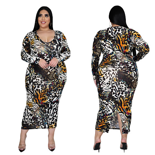 Plus Size Digital Printed Long Sleeves Round Neck Long Dress CY-1019