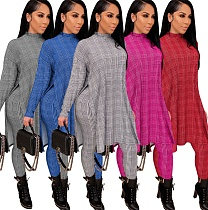 Grid Printed Turtleneck Long Sleeve T-shirt Leggings 2 Piece Set ZS-0378