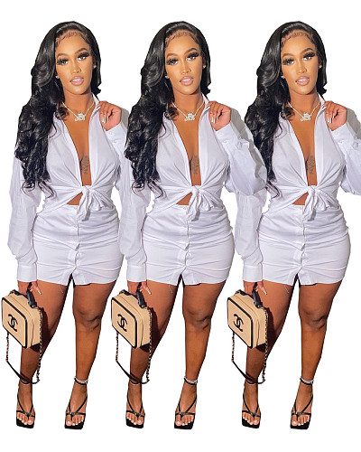 Solid Color Lace Up Long Sleeve Shirt Top Skirt 2 Piece Outfits WSM-5219