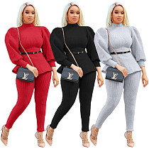 Solid Color Turtleneck Lantern Sleeves Top Leggings 2 Pieces OJS-9262