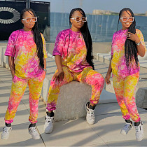 Spring Tie-dye Printing Sweatshirt Top Pants Two Piece Set BN-143