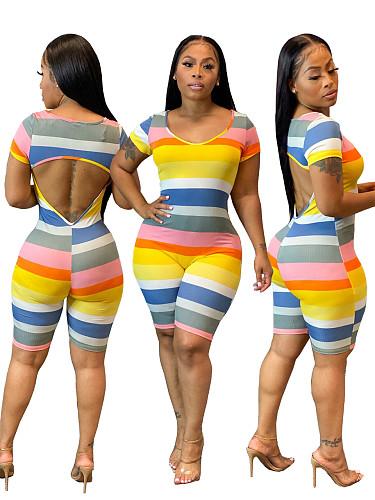 Striped Print Short Sleeve Round Neck Backless Skinny Romper WSM-5223