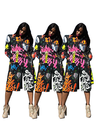 Graffiti Print Mid-length Long Sleeve Button Trench Coat With Belt SD-1191