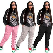 Women Casual Joggers Side Cross Lace-up High Waist Pants OJS-9257