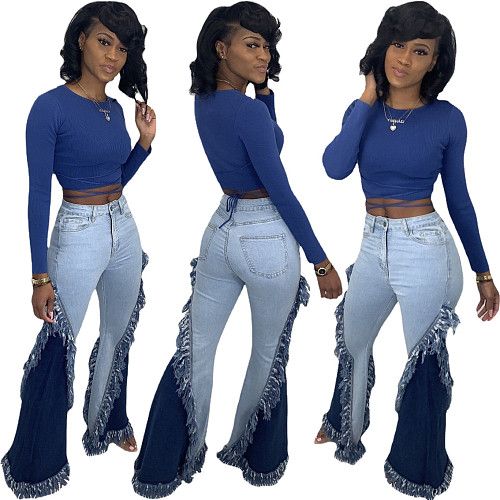 Women's Vintage Patchwork Tassel Skinny High Waist Flare Jeans LA-3252