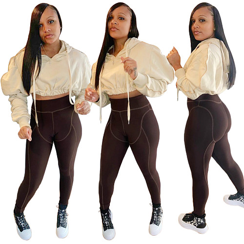 Long Sleeve Hooded Crop Top+Leggings 2 Piece Outfits SH-390023