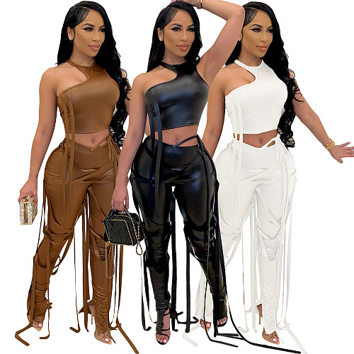 Faux PU Leather Vest Crop Top Pants Skinny Two Piece Set AIL-154