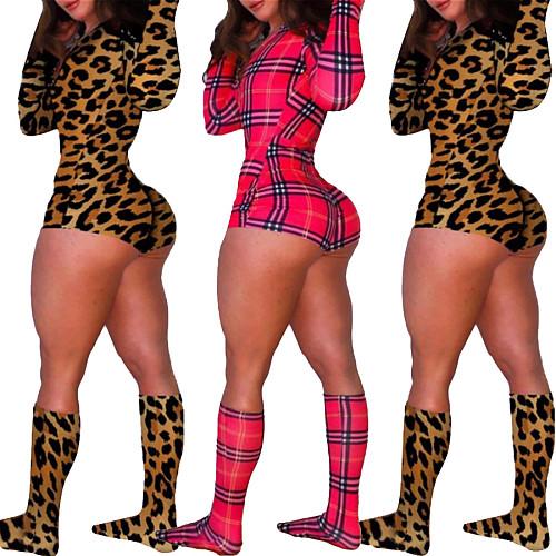 Fashion Printed Long-sleeve Stretch Leotard Bodysuit With Socks OMY-0001