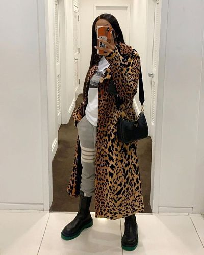 Leopard Print Lapel Long Sleeve Loose-fitting Long Trench Coat OMF-2505