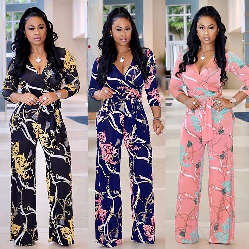 Hot Sales Long Sleeve V-neck High Waist Straight Leg Jumpsuit NK-8228