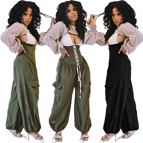 Fashion Women High Waist Bandage Loose Cargo Pants OMY-0002