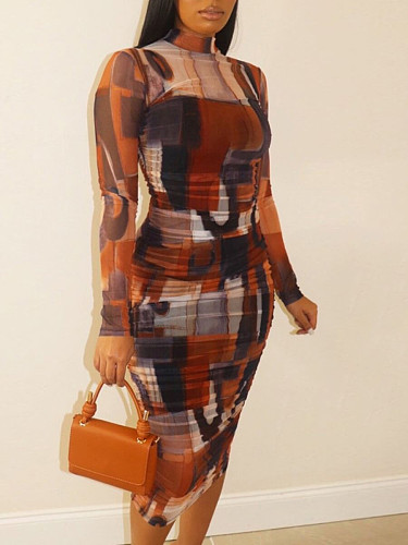 Women's Printed O-neck Long-sleeved High Waist Bodycon Dress TB-5242