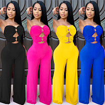 Women Solid Color Sexy Hollow-out Strapless Wide-leg Jumpsuit BY-3639