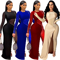 Mesh Stitching Long Sleeves Hot Drilling Bodycon Jumpsuit XQY-8832