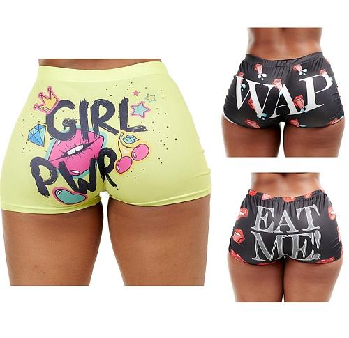 Sexy Plus Size High Waist Print Hip-hop Beach Sports Shorts HGL-1620