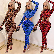 Sexy Print Hollow Out Backless Long Sleeve Skinny Jumpsuit BY-3848