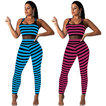 Sexy Stripe Splicing Mesh Sleeveless Bodycon Jumpsuit YD-88108