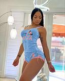 Spring Summer Cotton Halter Top Sleep Shorts Pajamas Sets YIS-529