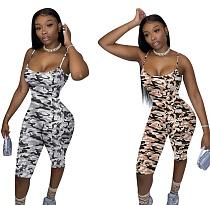 Camouflage Printed Sleeveless Bodycon Halter Short Jumpsuit TE-4190