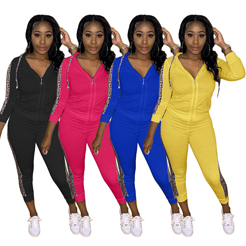 Long Sleeve Zipper Hooded Top Leggings Two Piece Pants Outfit NK-8583