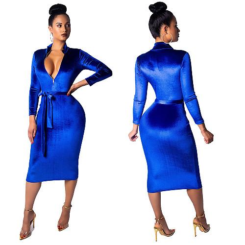 Women's Long Sleeve Front Zipper Bodycon Midi Dress With Belt MDO-8033