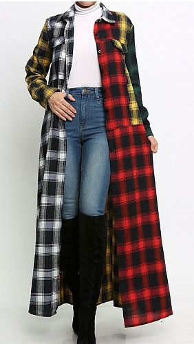 Women Long Sleeve Lapel Collar Plaid Loose Outerwear Chic Tops MEM-8327