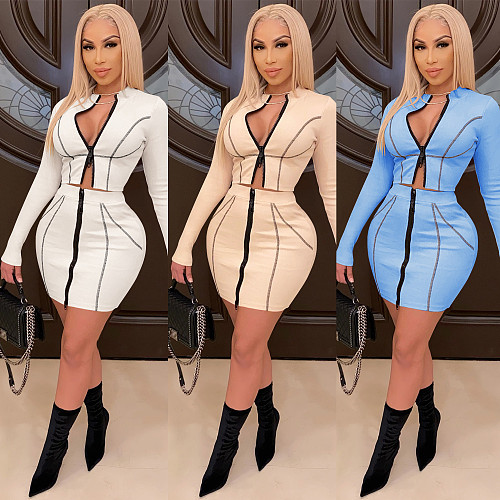 Zipper Long Sleeve Crop Tops+Bodycon Skirt Two Piece Sets BY-3892