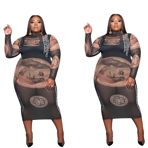 Plus Size Long Sleeve Dollars Print Sexy Bodycon Party Dresses CY-1023
