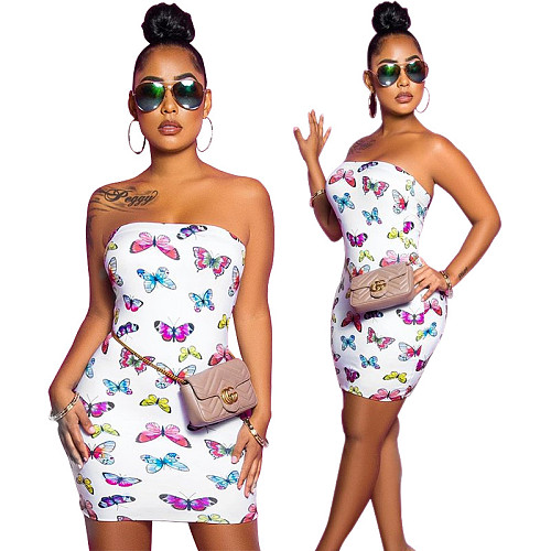 Women Butterfly Printed Strapless Sleeveless Bodycon Mini Dresses MF-216