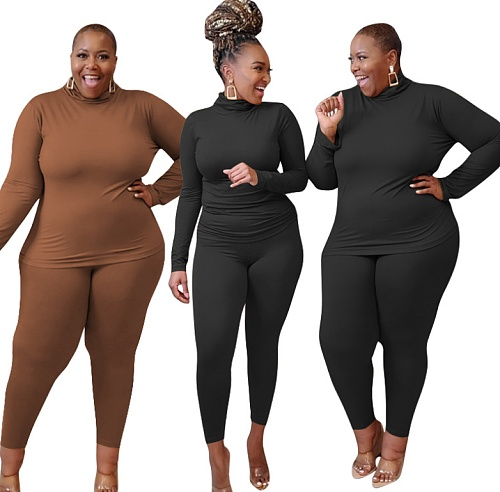 Women's Solid Stretch Long-sleeved T-shirt Leggings 2 Pieces OSS-21038