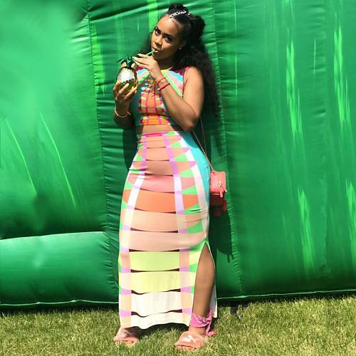 Colorful Stripe Printed Sleeveless Crop Top Long Skirt 2 Piece Set RS-007