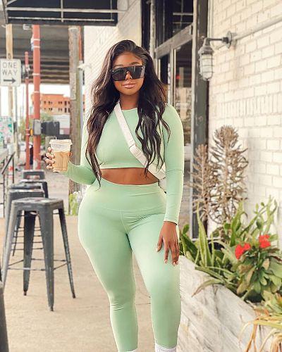 Plus Size Women Long Sleeve Crop Top Leggings 2 Pieces TB-5190