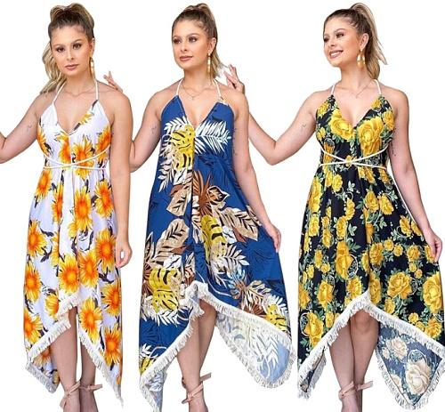 Boho Summer Elegant Floral Halter V Neck Irregular Midi Dress YF-9822